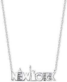 """Unwritten New York City 18"""" Pendant Necklace in Sterling Silver"""