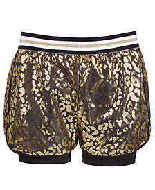 Ideology Big Girls Leopard-Print Layered-Look Shorts, Created for Macy's