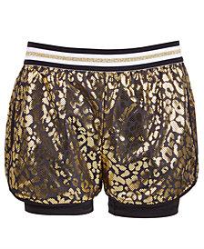 Ideology Big Girls Plus Metallic Leopard Shorts, Created for Macy's