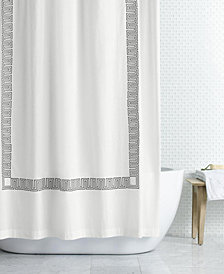 "CLOSEOUT! Hotel Collection Greek Key Embroidered 72"" x 72"" Shower Curtain, Created for Macy's"