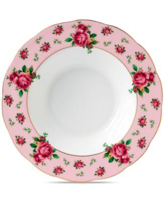 New Country Roses Pink Vintage Rim Soup/Salad Bowl