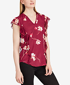 Lauren Ralph Lauren Floral-Print Ruffled Top