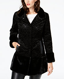 Jones New York Textured Faux-Fur Coat