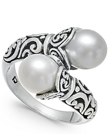 Cultured Freshwater Pearl (8-1/2mm) Scrollwork Bypass Ring in Sterling Silver