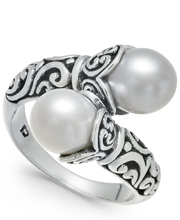 Macy's - Cultured Freshwater Pearl (8mm) Scrollwork Bypass Ring in Sterling Silver