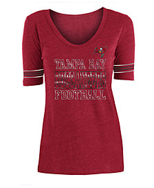 5th & Ocean Women's Tampa Bay Buccaneers Tri Blend Foil Sleeve Stripe T-Shirt