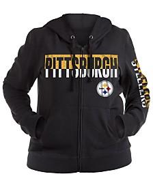 5th & Ocean Women's Pittsburgh Steelers Plus Glitter Block Hoodie