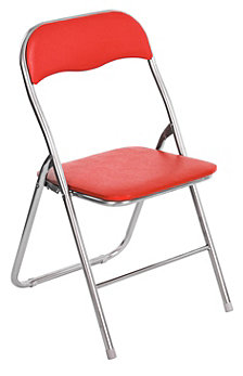 Metal Folding Chair, Red