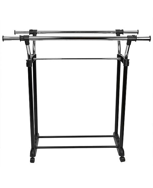Home Basics Chrome Plated Steel Adjustable Double Rail Garment Rack Black