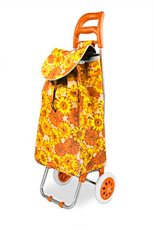 Rolling Shopping Cart, Orange Floral