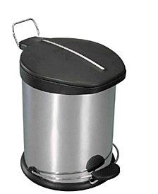 Home Basics 5 Liter Brushed Stainless Steel  with Plastic Top Waste Bin