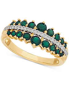 Emerald (3/4 ct. t.w.) & Diamond Ring in 14k Gold
