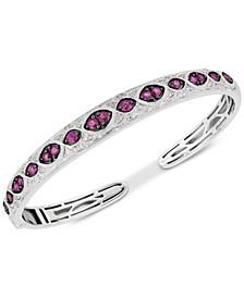 Ruby (1-5/8 ct. t.w.) & Diamond (1/6 ct. t.w.) Bangle Bracelet in Sterling Silver