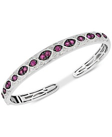 Ruby (1-5/8 ct. t.w.) & Diamond (1/6 ct. t.w.) Bangle Bracelet in Sterling Silver