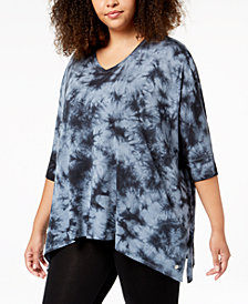 Calvin Klein Performance Plus Size Printed Draped T-Shirt