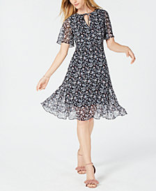 Maison Jules Floral-Print Flutter-Sleeve Dress, Created for Macy's