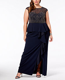 XSCAPE Plus Size Beaded Ruffled Gown