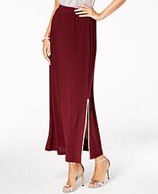 MSK Rhinestone-Trim Slit Maxi Skirt