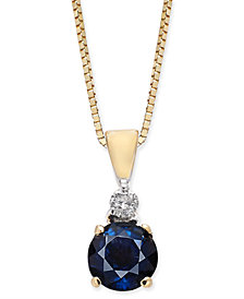 "Sapphire (1/2 ct. t.w.) & Diamond Accent 18""  Pendant Necklace in 14k Gold"