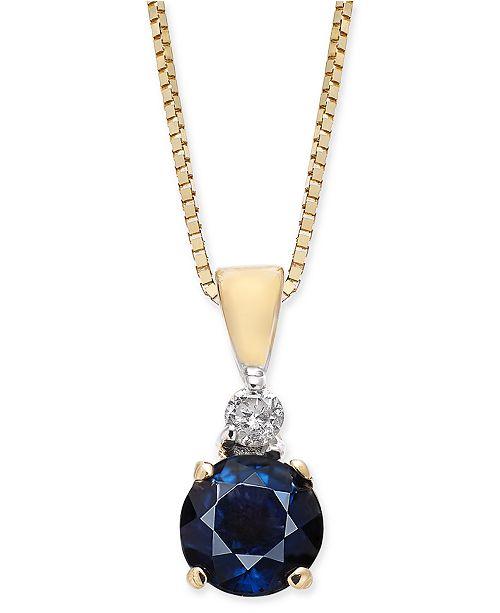 "Macy's Sapphire (1/2 ct. t.w.) & Diamond Accent 18""  Pendant Necklace in 14k Gold"