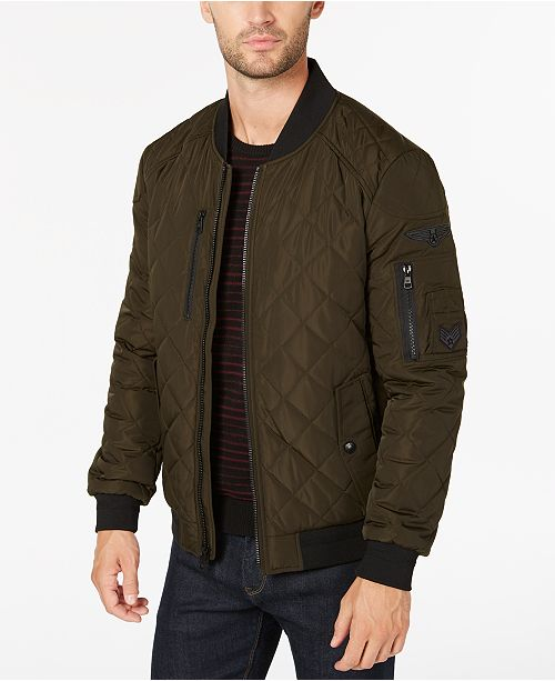 c3129a3fe Calvin Klein Men's Quilted Patch Bomber Jacket & Reviews - Coats ...
