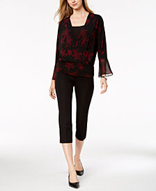 Alfani Surplice Top & Cropped Pants, Created for Macy's