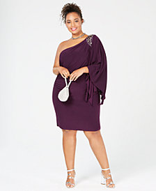 Morgan & Company Plus Size One-Shouldered Dress