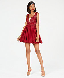 City Studios Juniors' Embellished Lace Fit & Flare Dress
