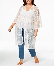 Eyeshadow Trendy Plus Size Embroidered Lace Kimono