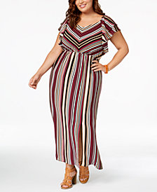 Monteau Trendy Plus Size Striped Maxi Dress