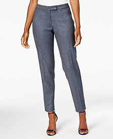Anne Klein Herringbone Slim-Leg Pants, Created for Macy's