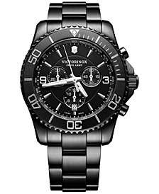 Victorinox Swiss Army Men's Swiss Chronograph Maverick Black Edition Black PVD Stainless Steel Bracelet Watch 43mm