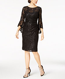 Nightway Lace Bell-Sleeve Sheath Dress