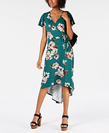 BCX Juniors' Floral High-Low Wrap Dress