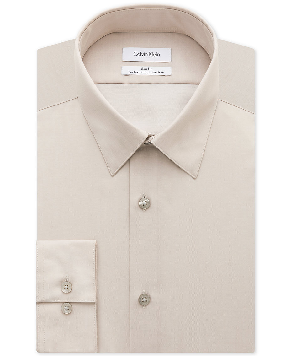 Calvin Klein Tan Beige Sale Mens Clothing 2018 Macys Microfiber Steel Brief Original Non Iron Slim Fit Herringbone Solid Performance Dress Shirt