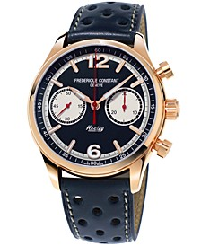 Men's Swiss Automatic Chronograph Vintage Rally Healey Blue Leather Strap Watch 42mm