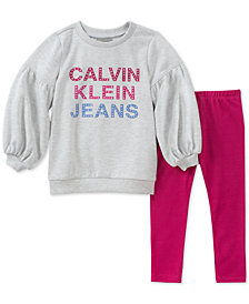 Calvin Klein Little Girls 2-Pc. Sweatshirt & Leggings Set
