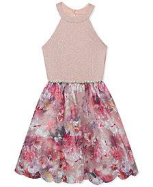 Rare Editions Big Girls Glitter Knit Embroidered Dress