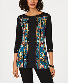 JM Collection Studded Border-Print Tunic, Created for Macy's