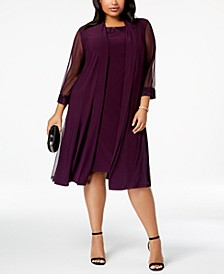 Plus-Size Embellished Dress & Jacket Set