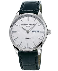 Men's Swiss Classic Black Leather Strap Watch 40mm