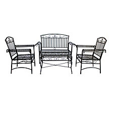 Courtyard Casual Steel French Quarter Outdoor 4 pc Metal Seating Group