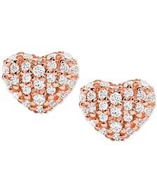Women's Kors Love Pavé Heart Sterling Silver Stud Earrings