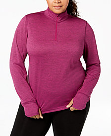 Ideology Plus Size Rapidry Quarter-Zip Top, Created for Macy's