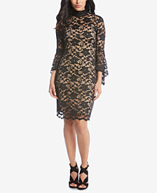 Karen Kane Lace Bell-Sleeve Sheath Dress