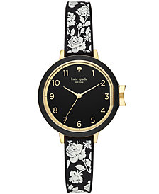 kate spade new york Women's Floral Black Silicone Strap Watch 34mm
