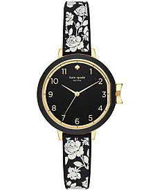kate spade new york Women's Park Row Floral Black Silicone Strap Watch 34mm