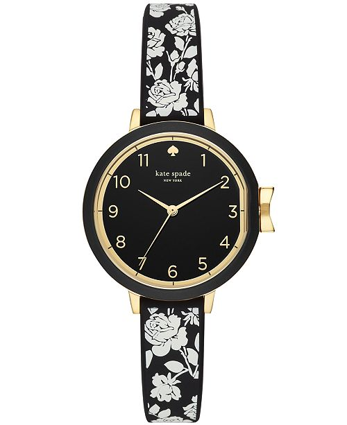 36b67c7c0 ... kate spade new york Women's Park Row Floral Black Silicone Strap Watch  ...