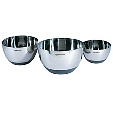 Stainless Steel Set of 3 Mixing Bowls with Silicone Base