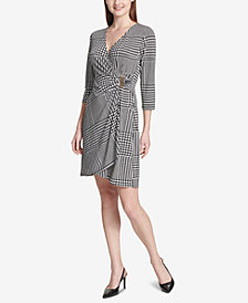 Calvin Klein Houndstooth-Print Wrap Dress